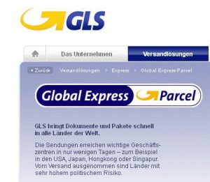Expresslieferung mit GLS